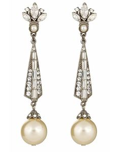 52cd70868 Thomas Laine - Pearl and Crystal Earring - Jewelry Art Deco Earrings, Art  Deco Jewelry