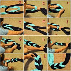Put Up Your Dukes: braided scarf tutorial diy Diy Scarf, Scarf Shirt, Scarf Ideas, Shirt Scarves, Sewing Crafts, Sewing Projects, Diy Projects, Diy And Crafts, Arts And Crafts