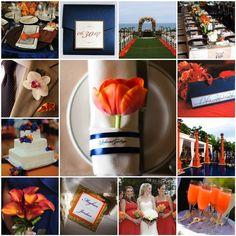 Decoração para casamentoem azul e laranja | Wedding colors - blue and orange