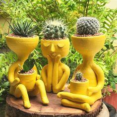 Best Cactus and Succulent - Modern Indoor Plant Pots, Indoor Garden, Garden Pots, Clay Art Projects, Garden Projects, Face Planters, Garden Design Plans, Cement Crafts, Paludarium