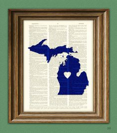 My Heart is in Michigan state map awesome upcycled by collageOrama, $6.99