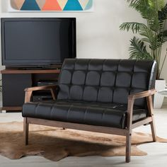 Features: -Brown faux leather seat with high-density polyurethane foam cushioning. -Medium brown wood veneer finish. Design: -Standard. Style: -Mid-century/Modern. Frame Finish: -Brown; Natural.