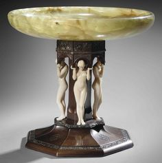 FERDINAND PREISS (1882-1943) GRECIAN MAIDENS TAZZA, CIRCA 1900 carved ivory, patinated bronze and green onyx 8½ in. (21.5 cm.) high; 9¼ in. (23.5 cm.) diameter