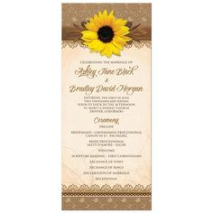 Rustic burlap lace sunflower wedding program. Great for a summer or fall / autumn wedding.