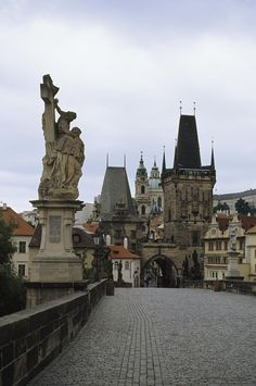 A view of the towers of old Prague from the Charles Bridge