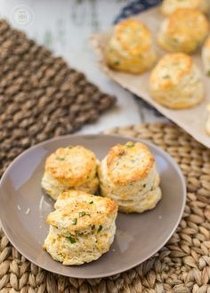Chive Scones with tons of cheddar and garlic are perfect with a little smear of butter. Serve these chive scones for brunch or tea time.