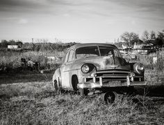 Black and White Car Photography, Classic Car Print, Chevy Deluxe, Texas Photography, Abandoned Automobile, Gift for Dad, 50s Chevy