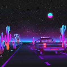 vaporwave Vaporwave Desert Road on Beha - vaporwave Alien Aesthetic, Aesthetic Space, Cyberpunk Aesthetic, Purple Aesthetic, Types Of Aesthetics, Desert Road, Desert Art, Vaporwave Wallpaper, Vaporwave Art
