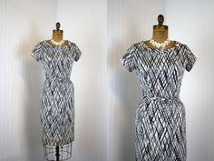 1950s Dress  Vintage 50s Dress  Navy Atomic Jersey by jumblelaya, $68.00