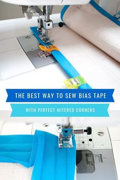 The Best Way To Sew Bias Tape With Mitered Corners {photos plus a video} The best way to sew bias tape corners! This easy tutorial shows how to sew bias tape mitered corners using step-by-step photos plus a video. Bind bias tape edges like a pro! Bias Tape, Sewing Hacks, Sewing Tutorials, Sewing Tips, Sewing Ideas, 1000 Lifehacks, Sewing Binding, Quilt Binding Tutorial, Bias Binding
