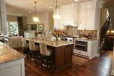 Image result for cream kitchen with wood floor