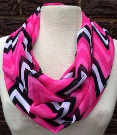 Soft chiffon fuchsia pink black white chevron zig zag infinity scarf Valentines on Etsy, $18.00