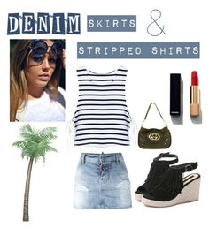"""Denim skirts & stripped shirts"" by kotnourka ❤ liked on Polyvore featuring Dsquared2, Gucci, Chanel and stripedshirt"