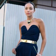 Ashley Madekwe in SKY HIGH jumpsuit and #MXTF Mars necklace