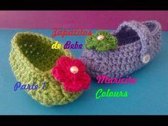 """Crochet Tutorial Zapatitos Bebe """"Abril"""" Escarpines (Parte 1) Subtitles English & Deutsch - YouTube"""
