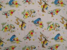 4 piece Vintage Winnie the Pooh curtain set -includes 2 curtains and 2 valances