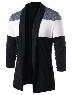 35a815fdfcbdd9 Casual Open Front Color Block Cardigan - BLACK M Cardigan Outfits
