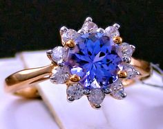 Genuine AA Tanzanite Solitaire with White Zircon Halo Gold Ring, Size 5 10k Gold Ring, Tanzanite Ring, Yellow Gold Rings, Halo, Fine Jewelry, Jewels, Boutique, Gemstones, Sterling Silver