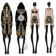 la modella mafia Rihanna in a Custom Givenchy by Riccardo Tisci outfit for her 2013 Diamonds World Tour 4