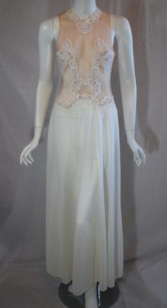 1970s White Rogers Sheer Nightgown Small Medium