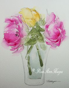 This is an original watercolor painting of a bouquet of roses in a glass vase. This was painted on archival quality watercolor paper using artists quality watercolor paint. The painting size is 5 x 7 inches and it is offered in a white bevel-cut mat measuring 8 x 10. It will easily pop into any standard 8 x 10 frame. It could be re-matted to fit into a larger frame, as well. It will be carefully wrapped in a clear mylar sleeve with acid-free foamboard backing. It will be wrapped in such a…