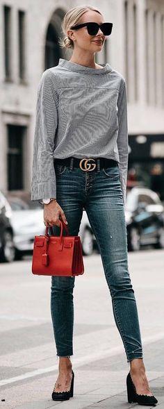 cute outfit_stripped top + red bag + skinnies + heels