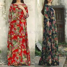 Plus UK Womens Floral Vintage Kaftan Ladies Casual Loose Party Long Maxi Dress Maxis, Hawaii Dress, Kaftan Tops, Long Romper, Maxi Robes, The Dress, Vintage Ladies, Fashion Dresses, Hijab Fashion