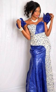 Blue and white brocade African maxi dress with embroidery ~Latest African Fashion, African Prints, African fashion styles, African clothing, Nigerian style, Ghanaian fashion, African women dresses, African Bags, African shoes, Kitenge, Gele, Nigerian fashion, Ankara, Aso okè, Kenté, brocade. ~DK
