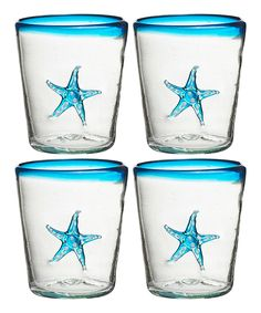 """Aqua Marina Starfish"" Double Old-Fashioned Glass; Set of Four by Global Amici (via Zulily)"