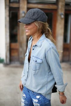 denim on denim | Via www.happilygrey.com
