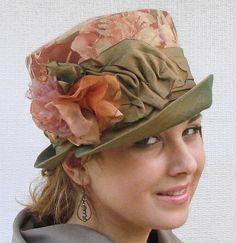 Womens Hat  Floral Print Fabric Edwardian Downton Abbey Hats  Vintage Style. $125.00, via Etsy.