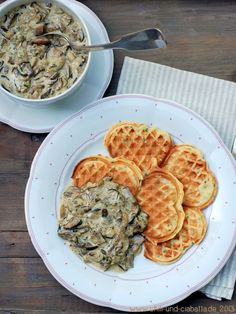 Potato Waffles with Mushrooms in Cream Sauce