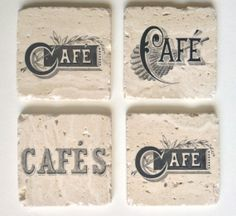 Coasters  Handmade Tumbled Stone Coasters Set of 4 Coasters with Vintage Cafe Typography by RittenhouseTrades, $26.00