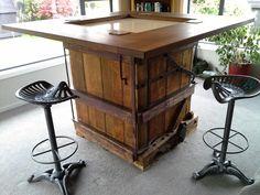 Woolpress Table with iron chapman saddle bar stools