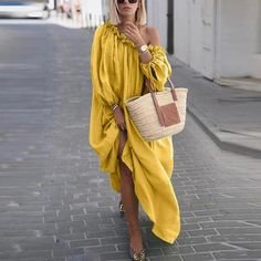 Classy Off-Shoulder Pure Colour Long Sleeve Casual Maxi Dress – Ratecuteonline Stylish Dresses, Casual Dresses, Maxi Dresses, Maxi Rosa, Looks Plus Size, Maxi Dress With Sleeves, Classy Dress, Dress First, Elegant Woman