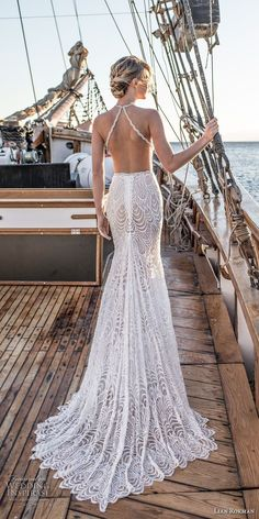 lian rokman 2017 bridal sleeveless strap halter deep plunging sweetheart neckline full embellishment elegant fit and flare wedding dress open back short train (quartz) bv -- Lian Rokman 2017 Wedding Dresses