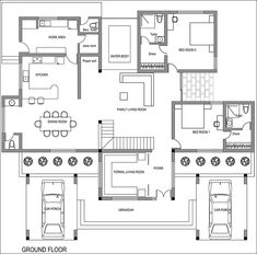 Model Bungalow Floor Plans, Duplex House Plans, House Floor Plans, Home Map Design, Home Design Floor Plans, Free House Plans, House Layout Plans, Best Small House Designs, 30x40 House Plans