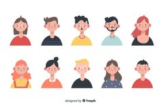 Discover thousands of copyright-free vectors. Graphic resources for personal and commercial use. Thousands of new files uploaded daily. Illustration Design Plat, People Illustration, Portrait Illustration, Cute Illustration, Character Illustration, Vector Illustrations, Vector Character, Character Flat Design, Character Design Sketches