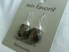 "MIN Favorit Iron Pyrite ""Fools Gold"" Iron Wrap Silver PL Artisan Earrings RARE 