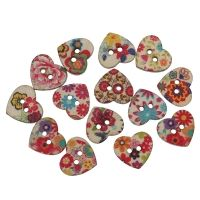 15 Colourful Painted Heart Buttons 24mm