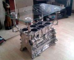 Just a Car Guy: Interior decorating with car parts art for the garage, or Car Guy bachelor pad