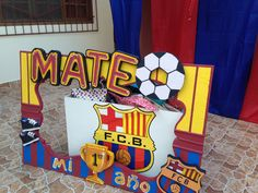 Soccer Party Favors, Soccer Birthday Parties, Football Birthday, Superhero Birthday Party, Birthday Party Decorations, Messi Birthday, Daddy Birthday, Barcelona Soccer Party, Fc Barcelona