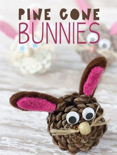 Pine Cone Bunnies and other fun and easy Easter crafts for kids Paint pinecones white Easy Easter Crafts, Spring Crafts For Kids, Bunny Crafts, Easter Crafts For Kids, Toddler Crafts, Pine Cone Crafts For Kids, Easter Gift, Easter Ideas, Felt Crafts