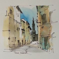 I continue my experiments with soluble ink. Pen and Ink Sketch inspired by an on-location sketch I did in Porto Portugal.  Now posted on YouTube. Link to my YouTube Channel is in my bio or click the following link.  https://m.youtube.com/c/petersheelerart  #Video #youtube #youtubers #landscape #art #original #watercolor #winsorandnewton #watercolour #painting #paintingaday #penandink #architecture #ink #moleskine_arts #canada  #Blackandwhite #Porto #Portugal #alley #Lamy #Arches