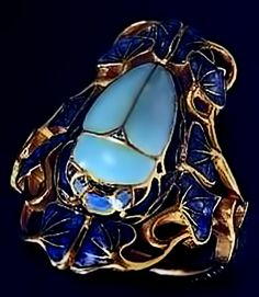 Lalique Blue Scarab Ring