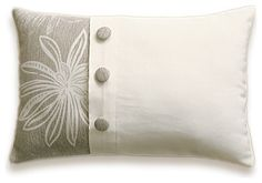 Cream Beige Floral Decorative Lumbar Pillow Cover 12x18 in Fabric Button LAYLA D - - pillows - - by Delinda Boutique - Decorative Throw Pillow Cases