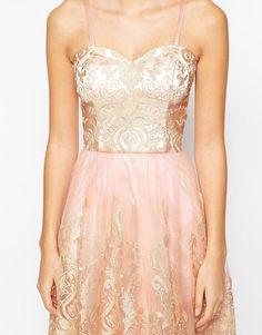 Chi Chi London | Chi Chi London Premium Metallic Lace Bandeau Midi Prom Dress at ASOS