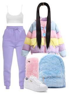 """80's Babe"" by melaninprincess-16 ❤ liked on Polyvore featuring Forever 21, Wild & Woolly and Puma"