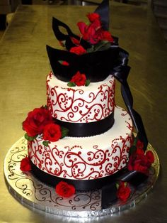 Wedding cakes and bridal cake for all occasions. Ask for Carlos Wedding Cakes. Masquerade Cakes, Masquerade Party Decorations, Sweet 16 Masquerade, Masquerade Theme, Masquerade Ball, Wedding Cake Designs, Wedding Cakes, Wedding Ideas, Mascarade Wedding