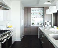 Suzie: Kelly Deck Design - Chic two-tone kitchen design with white kitchen cabinets, walnut ...